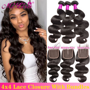 Body Wave Bundles With Closure 4 / 3 Bundles With Closure 30 Inch Bundle and a Closure Malaysian Human Hair Bundles With Closure
