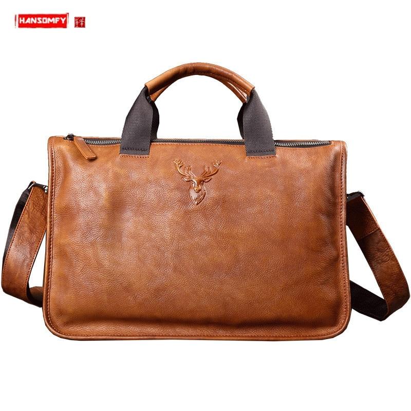 Genuine Leather Handbag Men's Bag Casual Business Men Briefcase Shoulder Messenger Computer Schoolbag Fashion Trend Travel Bags