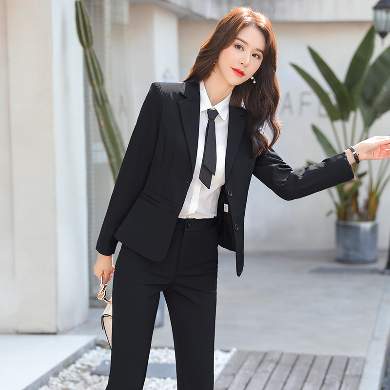 High quality autumn and winter women's professional office pants suit two-piece suit Ladies slim ladies jacket Casual trousers
