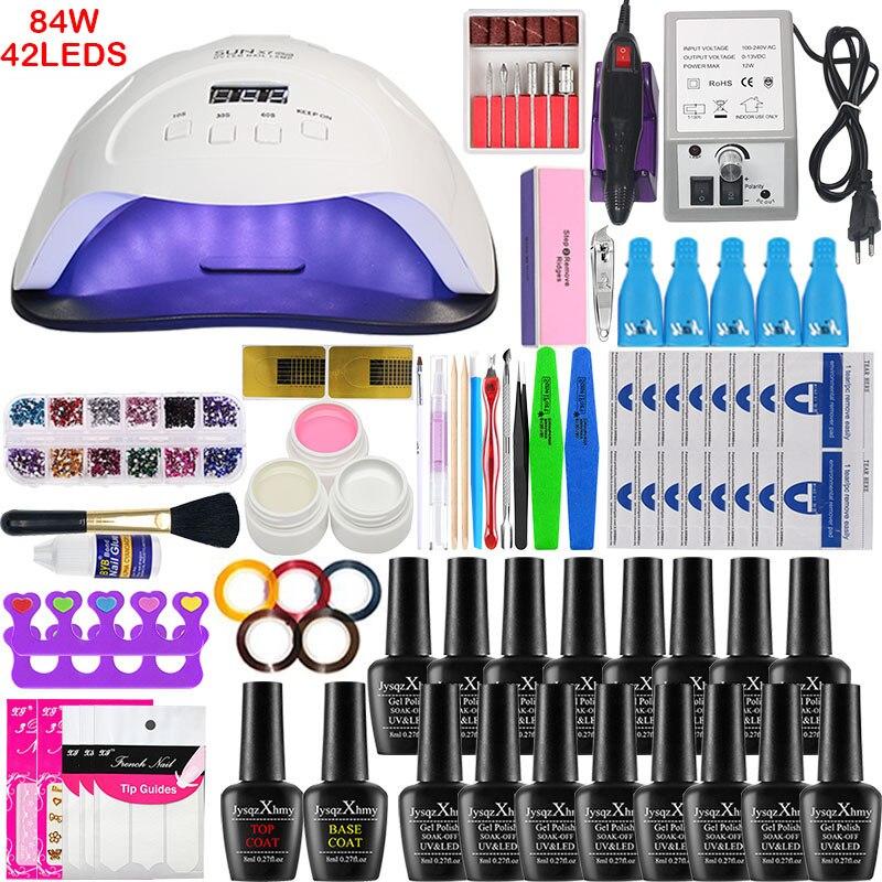 84W UV LED Lamp Dryer With 16/10pcs Nail Set For Gel Nail Polish Set Of Tools For Soaking Nail Kit Of Gel Polish For Nail Tools