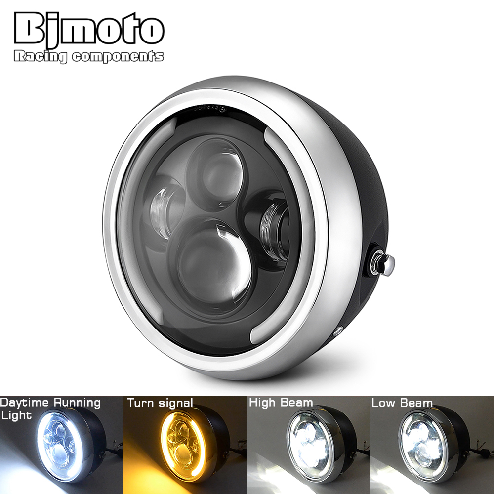 BJMOTO Motorcycle Universary Led Headlight Round 7.5 Inch Motorbike Headlamp For Victory Honda Kawasaki Yamaha BMW Cafer Racer