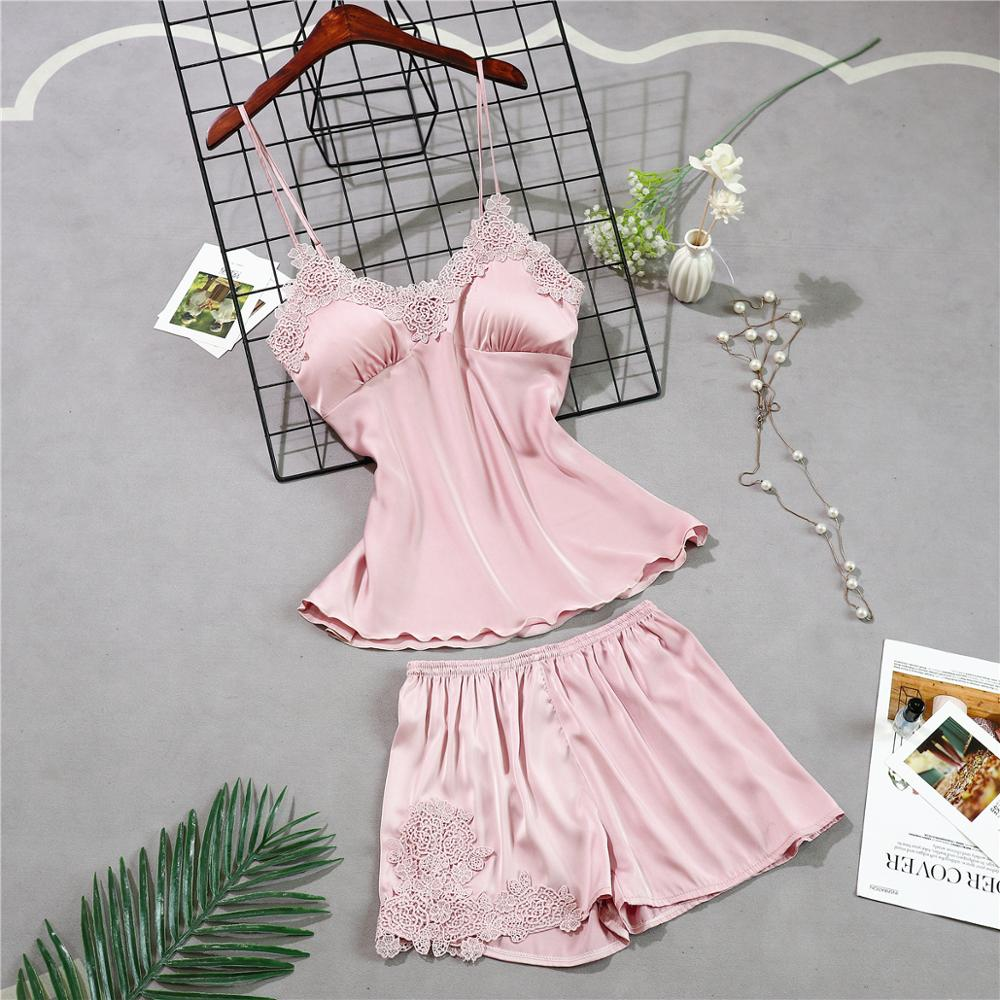 Женские пижамы, 5 шт., атласная пижама, шелковая Домашняя одежда, домашняя одежда, вышивка, Пижама для сна, для отдыха, пижама с нагрудными накладками - Цвет: pink A