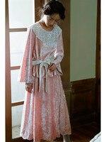 2020 Autumn Winter Dress Women Vintage Sweet Mori Girls Long Sleeve Dress Casual Loose Beauty Embroidery Striped Velvet Dress
