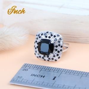 Image 5 - Black Cubic Zirconia Silver 925 Bridal Jewelry Sets Women Wedding Costume Necklace Sets Ring Earrings Pendant Bracelet Jewelry