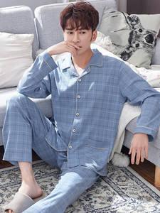 Nightwear Pijamas-Set Spring Pajams Mens Pure-Cotton Blue Plaid Long-Sleeves 2pieces