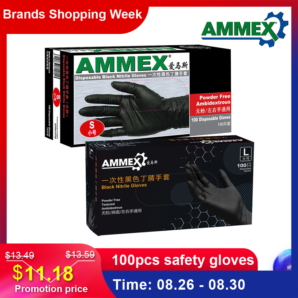 AMMEX Safety-Gloves Nitrile Laboratory Disposable Food Oil-Acid-Resistant Cleaning-Use