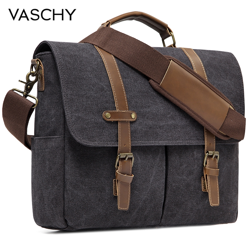 VASCHY Vintage Men Briefcase Water Resistant Canvas Messenger Bag For 15 In Laptop Business Satchel Padded Shoulder Bags Male
