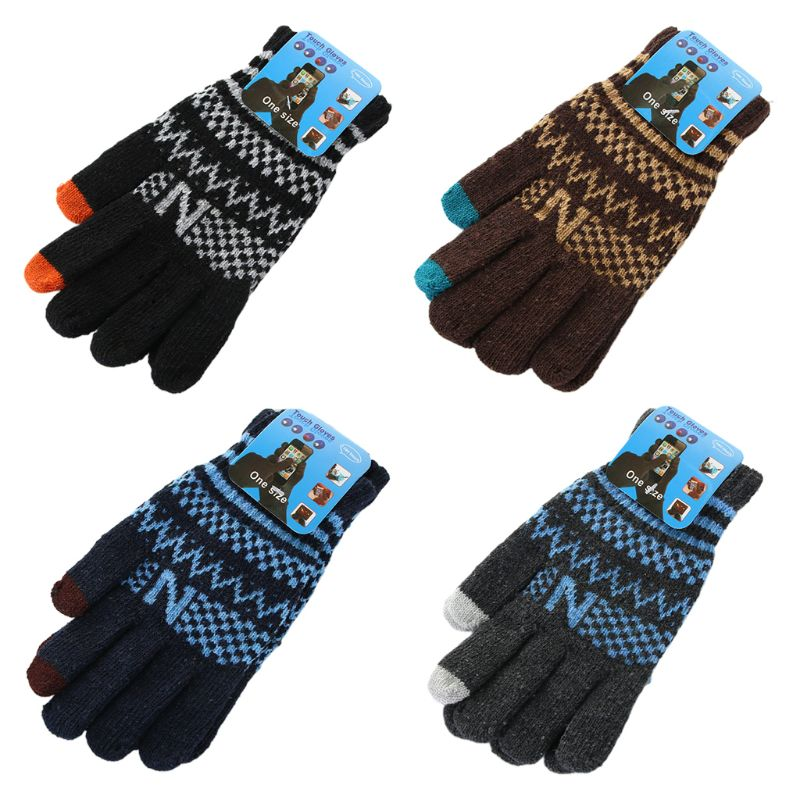 Mens Winter Knitted Magic Touchscreen Full Finger Gloves Checkered Wavy Stripes Jacquard Outdoor Cycling Sports Warm Mittens