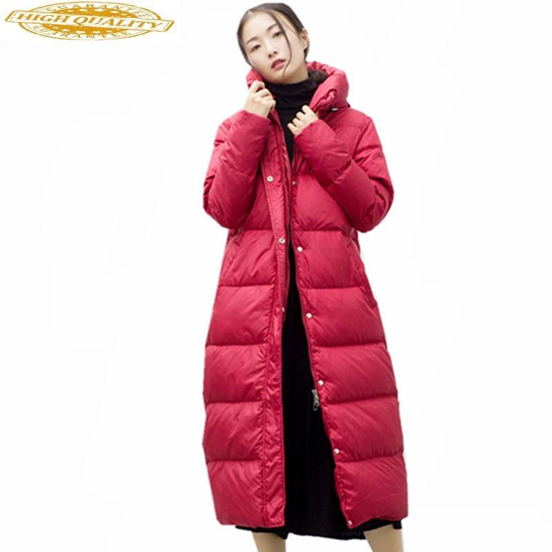 Women's White Duck Down Jacket Fashion Women Long Parka Warm Winter Coat Female Hooded Jackets Abrigo Mujer WXF365