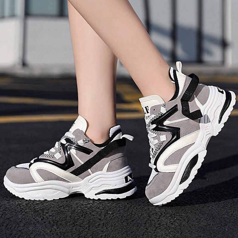 Modne trampki damskie buty nowe damskie buty wulkanizowane 2020 platformowe buty damskie mieszkania damskie Chunky Sneakers buty do chodzenia