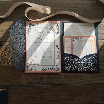 30pcs laser cut Navy and Peach theme pocket card set free shipping Custom design and printing