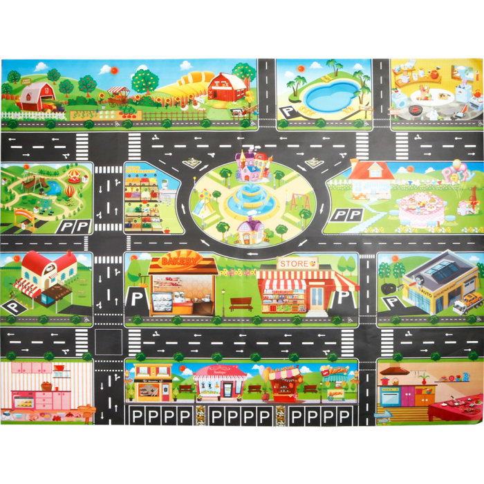 Hec742dcaa94640b9b5f214c6289da9bf6 Hot Selling 130*100cm Children Play Mats House Traffic Road Signs Car Model Parking City Scene Map