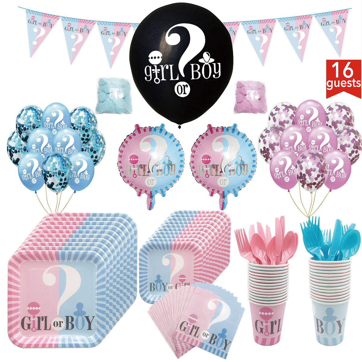 New Gender Reveal Balloon Party Supplies Gender Reveal Boy Or Girl Banner Confetti Foil Balloon Square Plate Tableware