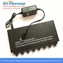 Światłowód gigabitowy przełącznik optyczny 8 Port FX do 2 portów TX 10/100/1000Mbps SMF przełącznik światłowodowy światłowodowy sprzęt przełącznik gigabitowy