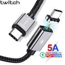 Магнитный usb кабель twitch 5a type c для macbook pro 100 Вт