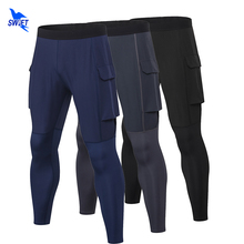 Running-Tights Men Compression Trousers Pants Sports Leggings Fitness Crossfit with Pocket