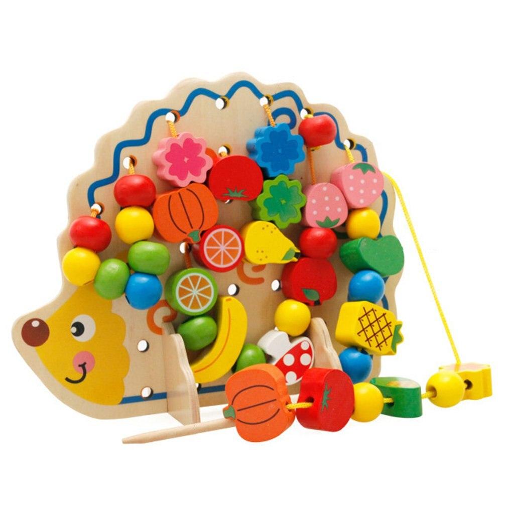 Jouets éducatifs pour enfants perles rondes en bois jouet hérisson perles de fruits jouets de filetage jeu de corde