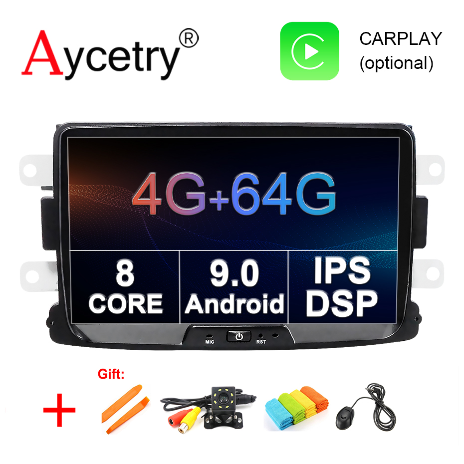 DSP IPS 8 core 4G 64G Android 9 Car multimedia dvd GPS For Duster Dacia Logan