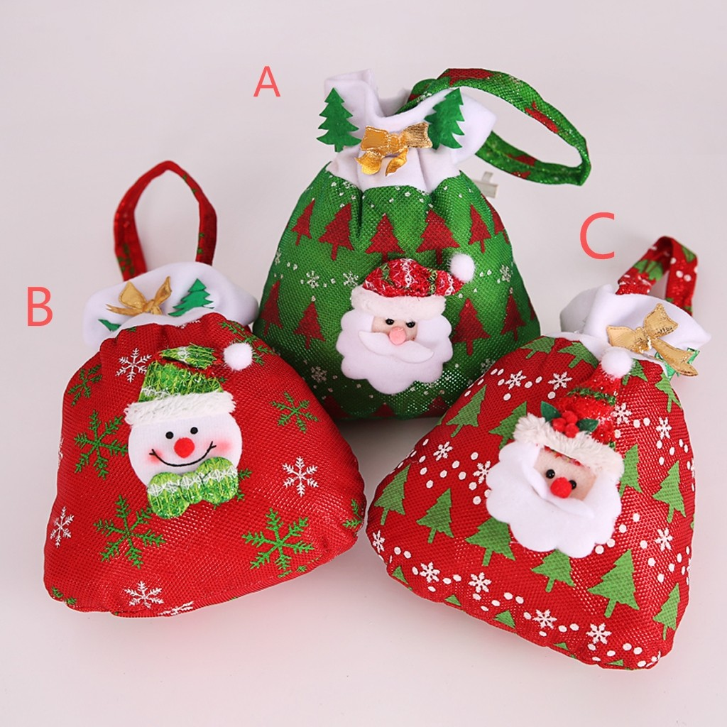 Drawstring Bags Christmas Red Cartoon Old Man Snowman Candy Tote Child Gift School Gym Festival Red Green Bag Softback Printing
