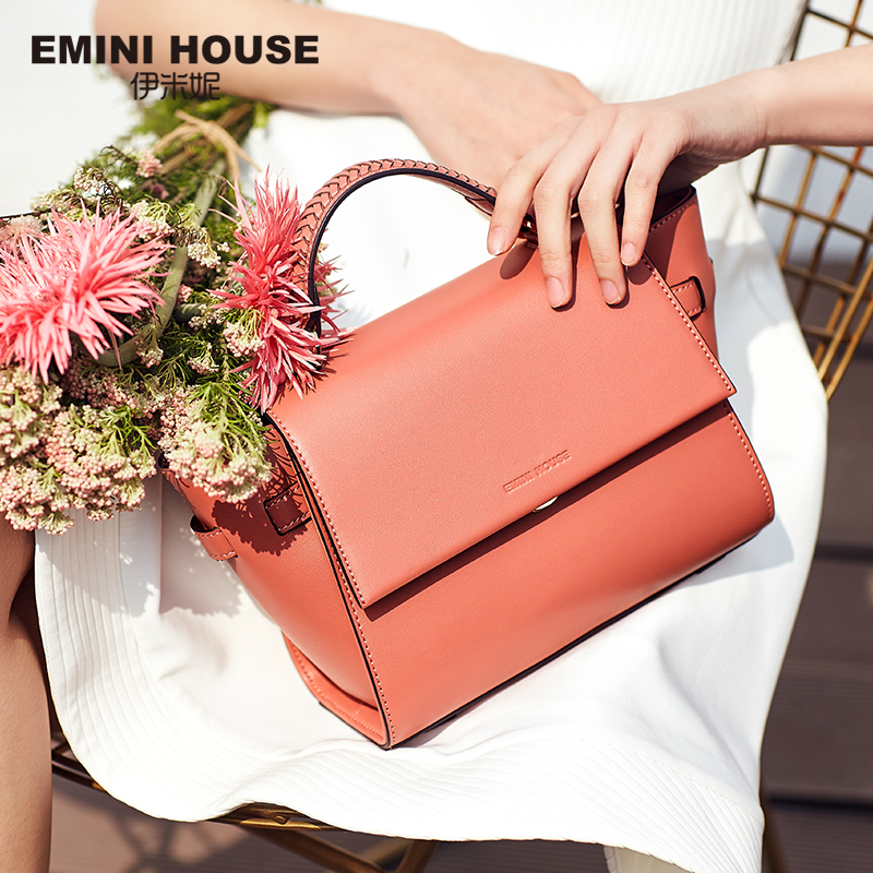EMINI HOUSE Trapeze Bag Knitting Handle Shoulder Bag Split Leather Crossbody Bags For Women Luxury Handbags Women Bags Designer