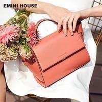 EMINI HOUSE Trapeze Bag Knitting Handle Shoulder Bag Split Leather Crossbody Bags For Women Luxury Handbags Women Bags Designer