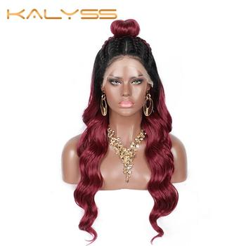 Kalyss Pre Braided Wigs with Baby Hair for Women Double U Part Swiss Lace Front Ocean Wave Wigs Updo bun wigs lace front wigs