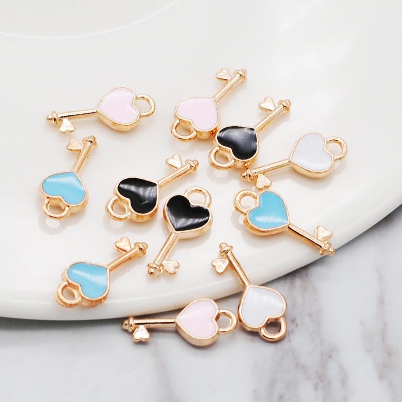 30pcs/lot New Heart Shape Key Enamel Pendant Carousel Charms for DIY Bracelet Necklace 1
