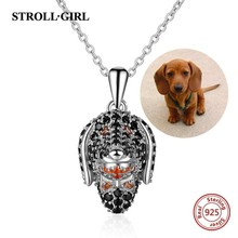 Strollgirl Authentic 100% 925 sterling silver Cute Dog Head Pave CZ Necklaces & Pendants Women Sterling Silver Jewelry