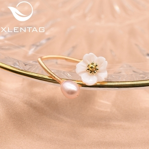 Image 3 - XlentAg Fresh Water Pearl Natural Shell White Flower For Women Ring Best Friend Wedding Engagement Gift Fine Jewelry GR0247