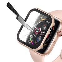 Cristal + tapa de matel para carcasa de reloj Apple, 44mm, 42mm, iwatch 40/38mm, protector de pantalla, parachoques, Apple Watch serie 5 4 3 SE 6, accesorios