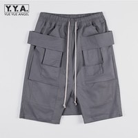 Mens Casual Knee Length Trousers Personality Lace Up Drop Crotch Pockets Cargo Shorts Male Loose Sweatpants Summer Beach Shorts