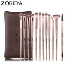 Zoreya 12 pçs pincéis de maquiagem profissional cor preta sombra para os olhos compõem conjunto escova mistura eyeliner sobrancelha pequeno ventilador ferramenta cosmética
