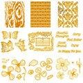 Blumen Blätter Schmetterling Phrasen Hintergrund Heißer Folie Platte für DIY Scrapbooking Buch Präge Papier Karten Handwerk Neue 2020-in Stanzmesser aus Heim und Garten bei