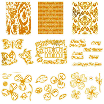 Flowers Leaves Butterfly Phrases Background Hot Foil Plate for DIY Scrapbooking Letterpress Embossing Paper Cards Craft New 2020 merry christmas words flower stripe hot sell hot foil plates for scrapbooking diy paper cards crafts decoration new 2019