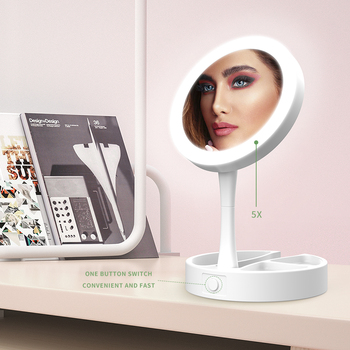 Makeup Mirror with Led Light Table Vanity Mirror Led Lights Make Up Mirror Storage Fill Light Small Cosmetic Mirror folding makeup mirror with led light 5 times magnifying cosmetic mirror beauty ring light mirror photo fill light small mirrors