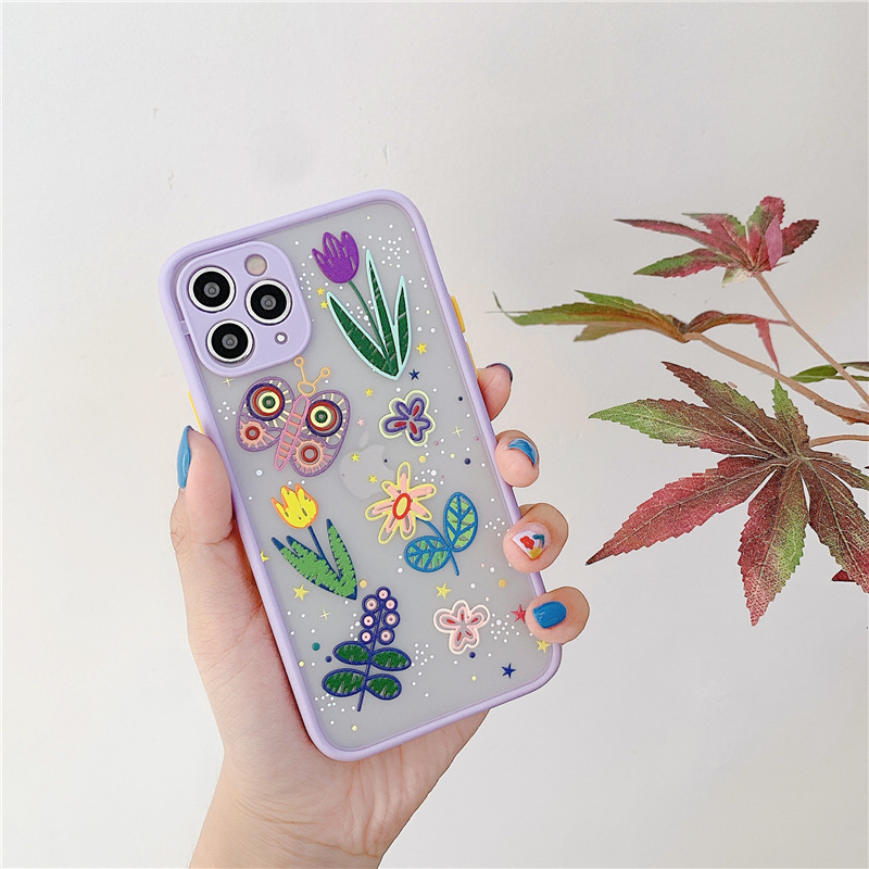Luxury Star Flower Transparent Case For iPhone 12 11 Pro Max X XR XS Max 7 8 Plus Floral Matte Bumper PC+TPU Back Cover