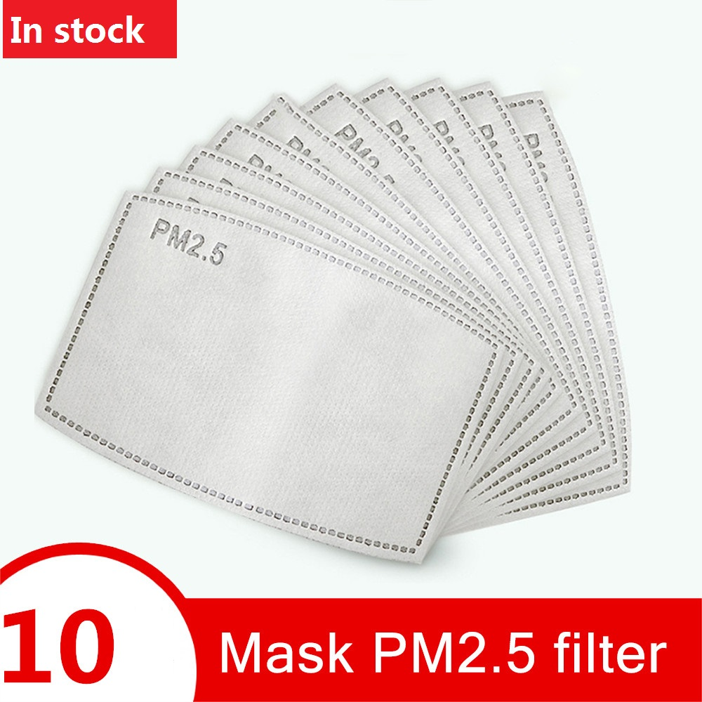 10pcs For Kids/Adult 5 Layers PM2.5 Filter Paper Anti Haze Mouth Mask Non-woven Activated Carbon Filter Paper