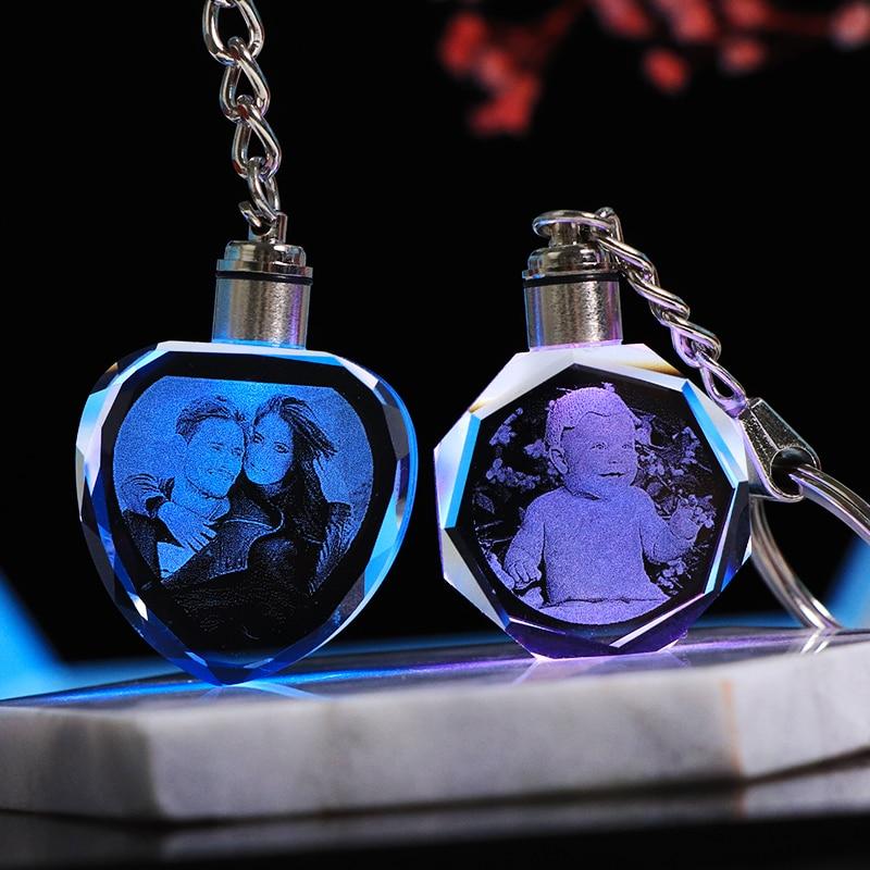 Llavero K9 personalizado de cristal con foto colgante, foto personalizada, llavero con grabado
