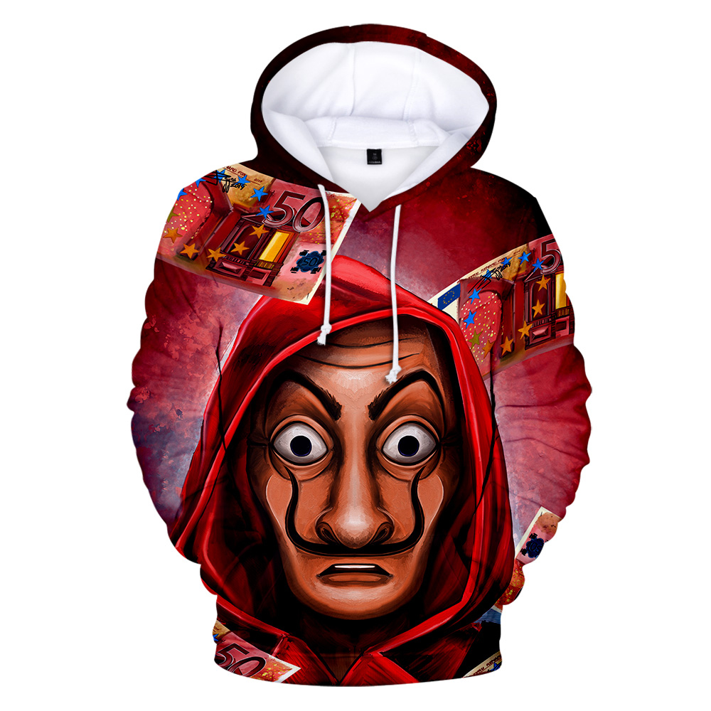 Salvador Dali Mask Hoodies Sweatshirts Men 3D Print Money Heist The House Of Paper La Casa De Papel Harajuku Autumn Hoodie