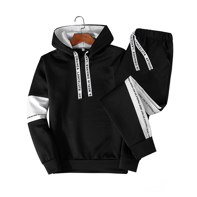 White Black Men Hoodies Set Fashion 2020  6