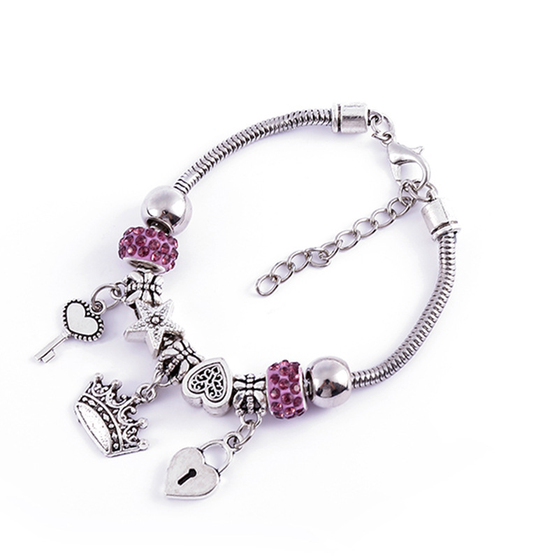 DIY Bracelet With Beaded Personality Design Lovers Jewelry Accessories For Women Heart Crown Bracelet Wholesale