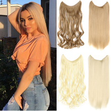 """24"""" Women Invisible Wire No Clips in Fish Line Hair Extensions Straight Wavy Long Heat Resistant Synthetic Hairpiece"""