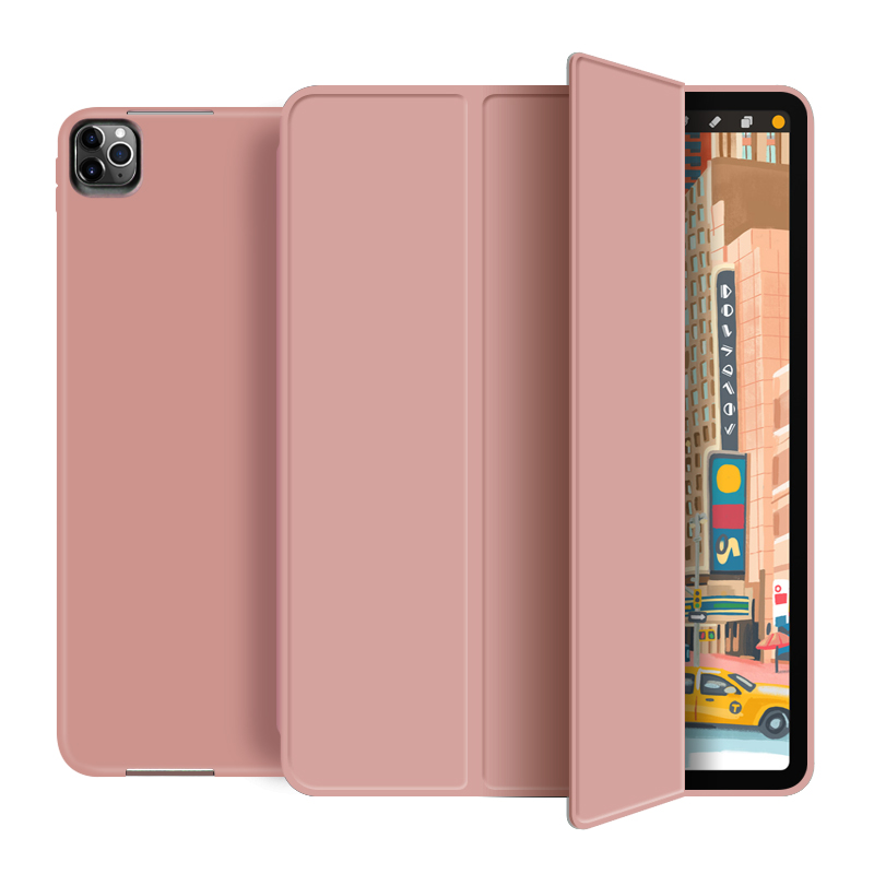 Rose gold Beige For New iPad pro 12 9 inch 2020 Smart case Tri fold soft bracket cover for