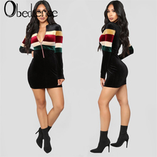 Fashion Women colorful Sexy Zip V Neck Long Sleeve Dress Winter Evening Party Swing Dress недорого