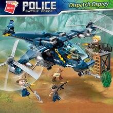 цена на Qman 1922 Dispatch Osprey Plane Helicopter Model Bricks Friends Compatible Building Blocks Toys for Kids