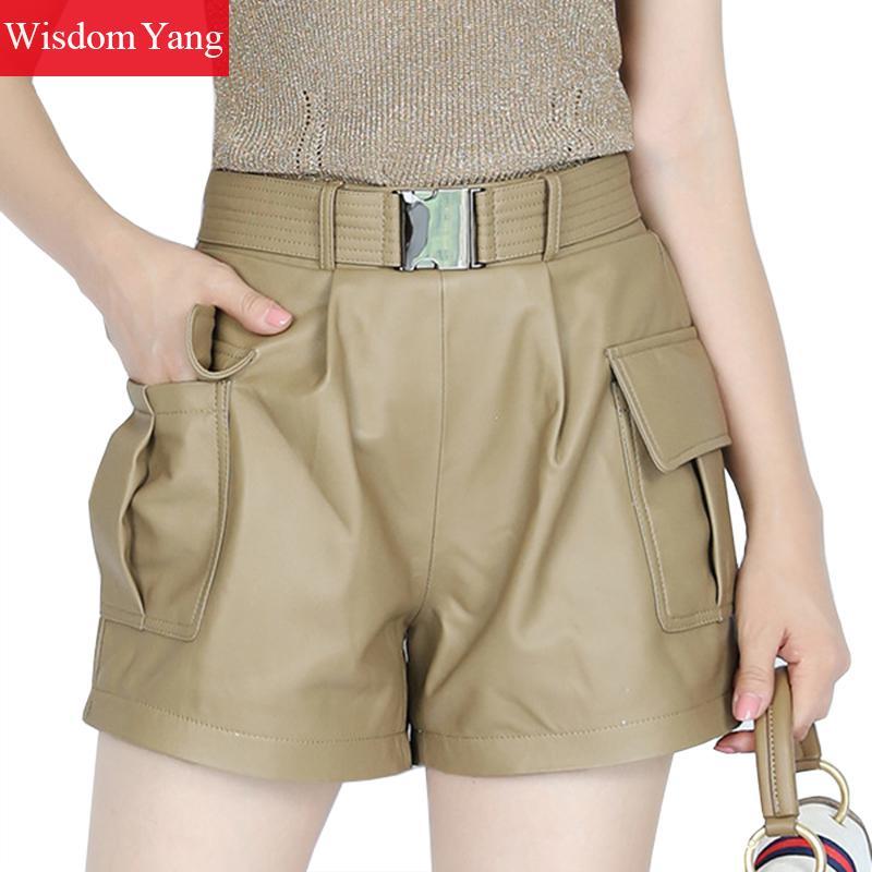 Autumn Woman Wide Leg SheepSkin Genuine Leather Shorts Women Loose High Waist Shorts Black Khaki Mini Pants Ladies Flare Trouser