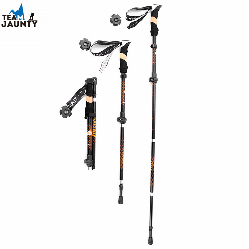 Cross Border New Style 2-Stage Four Telescopic Folding External Lock Alpenstock Outdoor Hiking Off-road 7075 Alloy Wand
