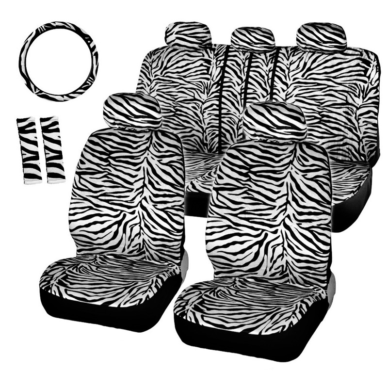 Short Plush White Zebra Seat Covers Set Universal Fit Most Car Seats Steering Wheel Cover Shoulder Pad Car Seat Cover