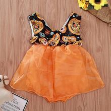 2019 New Arrivail Cute Toddler Kids Baby Girls Sleeveless Halloween Pumpkin Print Tulle Romper  Clothes