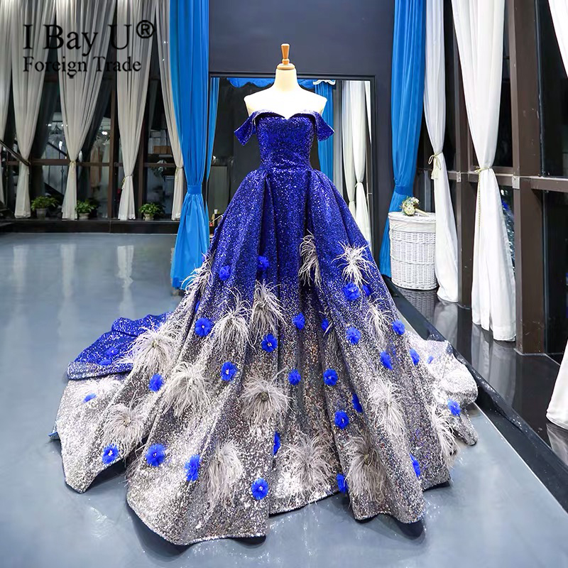 Arabic Blue Silver Sequins Wedding Dresses With Feathers Sexy Off Shoulder Pearl Beaded Plus Size Bridal Gown